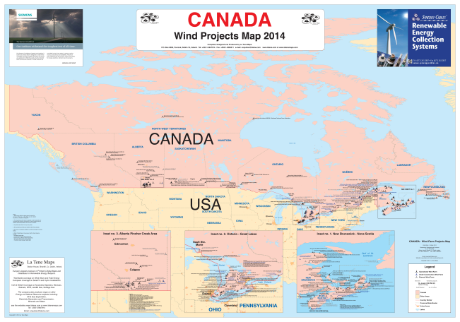 Picture Of Map Of Canada.Canada Wind Projects Map