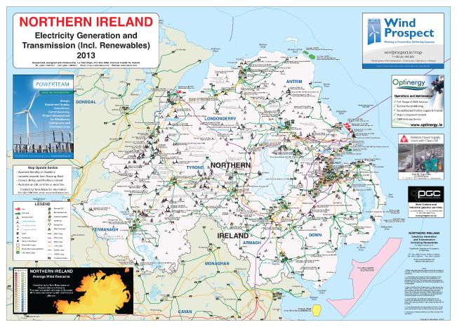 Northern Ireland Electricity Generation And Transmission Map La - Northern ireland map