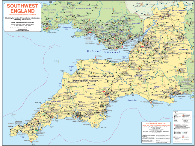 Map Of The South West Of England.South West Britain Electricity Generation And Transmission La