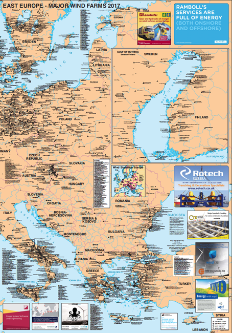 Europe Major Wind Farms Map Western Europe Eastern Europe - Map of western europe